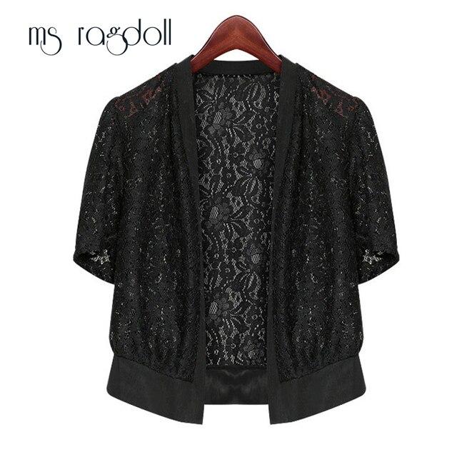 MS Ragdoll Vrouwen Zomer Open Stitch Plus Size 5XL Fashion Casual Office Strand Wrap Coat Hollow Out Korte Mouw Kleine sjaal
