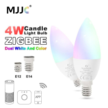 Zigbee ZLL LED 4W Candle Light Bulb RGB RGBW RGBWW CW Smart APP Control 110V 220V 230V 240V E12 E14 Work with Amazon Echo Plus