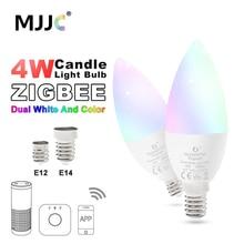 цена на Zigbee ZLL LED 4W Candle Light Bulb RGB RGBW RGBWW CW Smart APP Control 110V 220V 230V 240V E12 E14 Work with Amazon Echo Plus