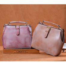 New Fashion Pattern Fog Wax Genuine Leather Handbag Women Luxury Retro Shoulder Bag Doctor Bolsa