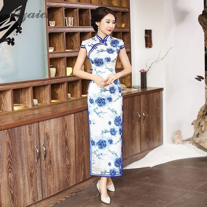 Spring Blue White Print Long Cheongsam Modern Chinoise Slim Qi Pao Women Chinese Traditional Dress Robe Orientale Qipao Dresses