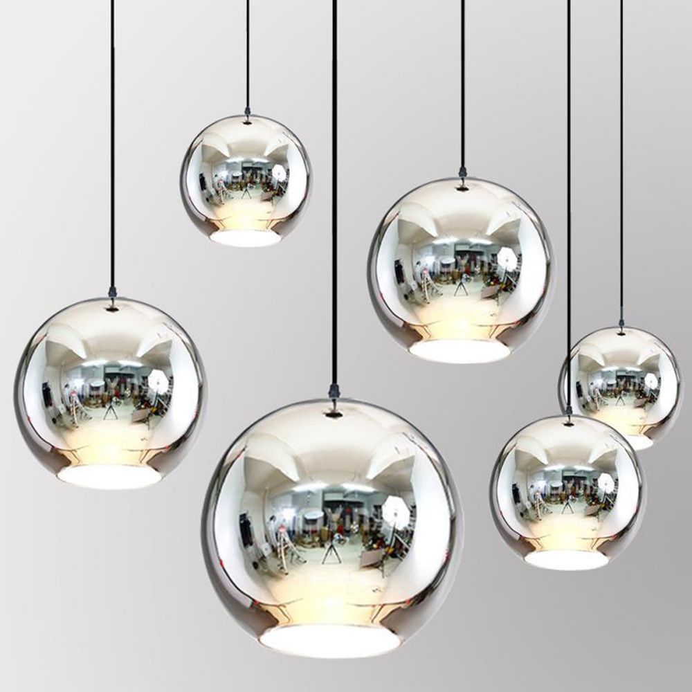 Romantic Bar home Light 15CM E27 Glass Ball Multicolor Scandinavian Chandelier HangLamp Retro Living Room Minimalist Parlor