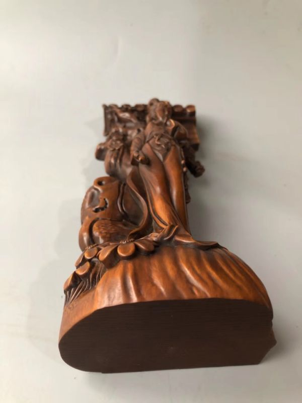 Chinese Antique Boxwood Hand-carved beautiful Female flowers Home Decoration
