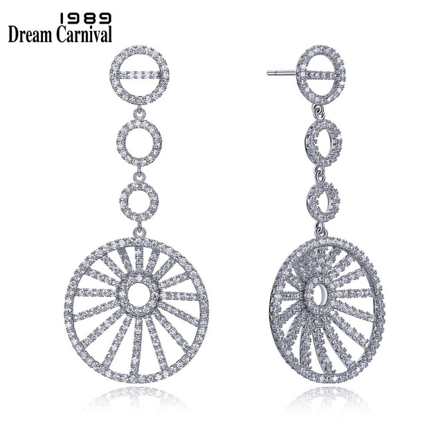 DreamCarnival 1989 Luxury Sterling Silver 925 Ladies Wedding Banquet Zircon Stones Long Round Drop Clear White Earrings SE11716R