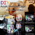 S/M/XL Single/ Double Layer Clear Acrylic Hamster Cage Castle Rat Guinea Pig Small Pets Chinchilla House Hedgehog Toy Bed
