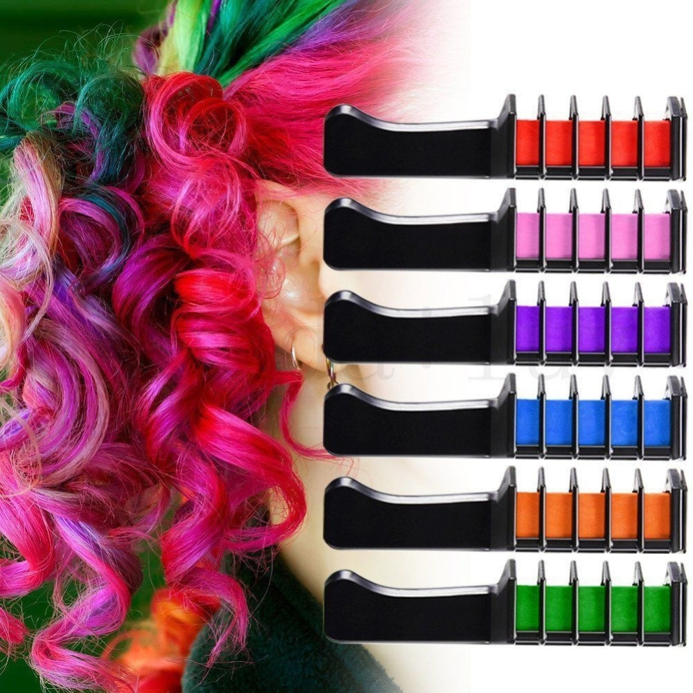 6Pcs/Set Disposable Hair Dye Combs Hair Dye Color Cream Hair Multicolor Chalk Powder With Comb Crayons Hair Dyeing Tool TSLM2
