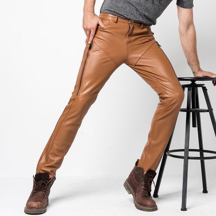 2019 Nouveaux Hommes Véritable Pantalon En Cuir D'hiver pour Hommes Slim Coréenne en peau de Mouton Mode Casual Moto Pantalon Mâle Locomotive Pantalon