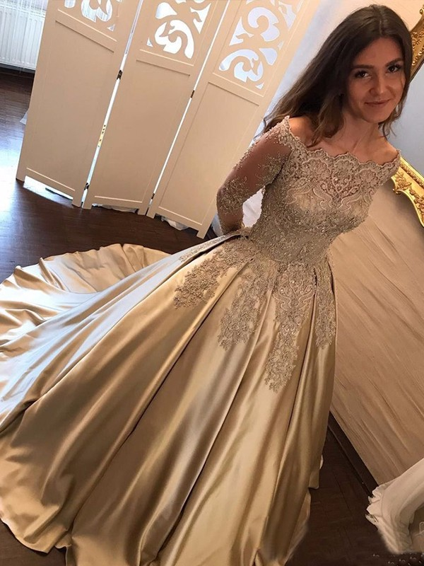 Long Sleeves Off-the-Shoulder Sweep Train Satin Elegant Long Party Ball Gown Evening Dresses