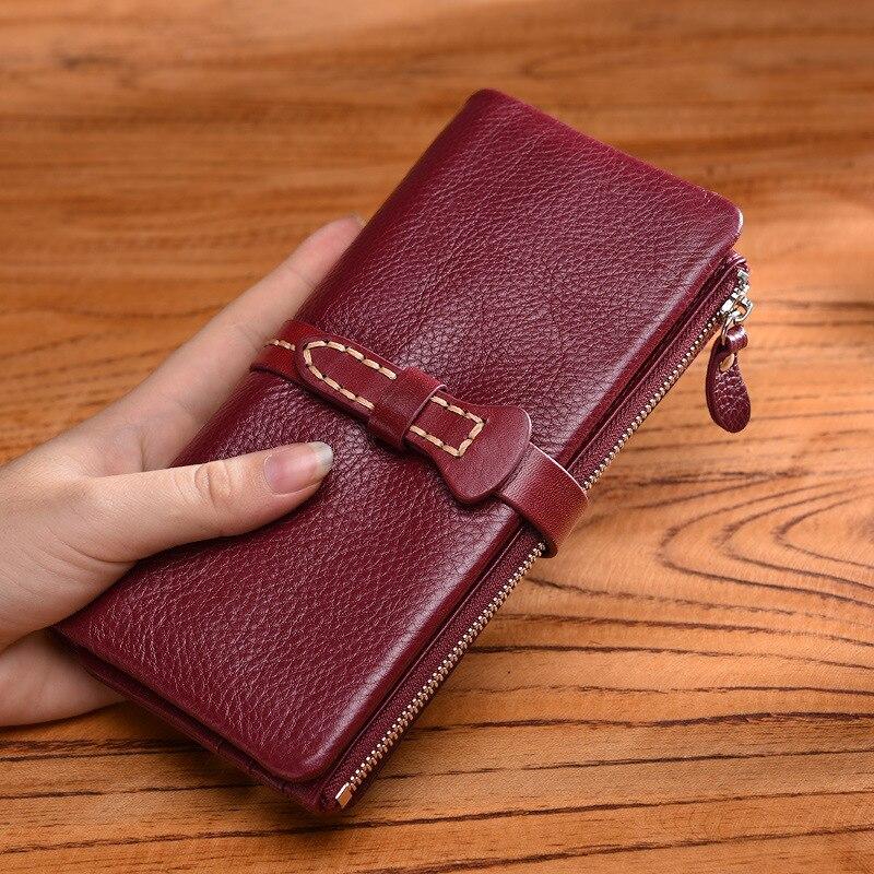 Portefeuille en cuir femmes LONG 2018 nouveau rétro dames personnalité sac à main en cuir portefeuille de luxe sacs à main femmes sacs DESIGNER sac à main