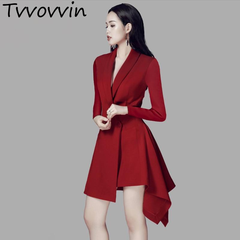 2019 printemps automne nouveau modèle revers auto-culture alcool rouge à manches longues longue fond costume robe femmes Fashoin Tide E348