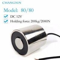 80*80mm Large Suction 200kg Dc 5v/12v/24v Big Solenoid Electromagnet Electric Lifting Electro Magnet Strong Holder