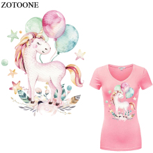 ZOTOONE Cute Unicorn Patches Iron On Transfer For Girl Clothing Diy T-shirt Dresses Heat Vinyl Sticker Kids Cloth E