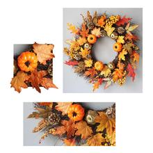 60cm Halloween Thanksgiving Maple Wreath Door Hanging Wooden Vine Ornaments Berry LED Home Decoration Supplies