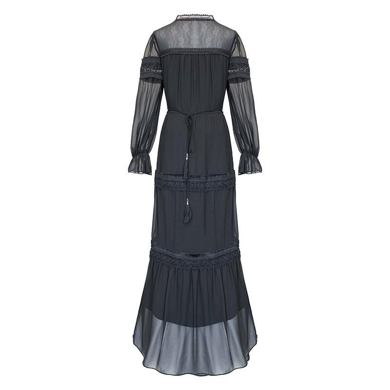 Haute Printemps Femelle 2019 Robe Gland Robes Manches Femmes V Patchwork Taille Cou Lanterne Black De Mode Dentelle Bandage Partie Twotwinstyle white 8dTqwv8