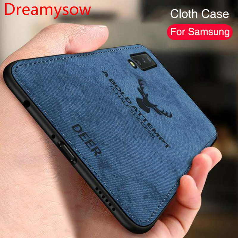 Luxury Shockproof Fabric Cases For Samsung A50 A30 M30 M20 Cloth Texture For Samsung A6 A8 Plus J4 J6 2018 Soft Silicone Case