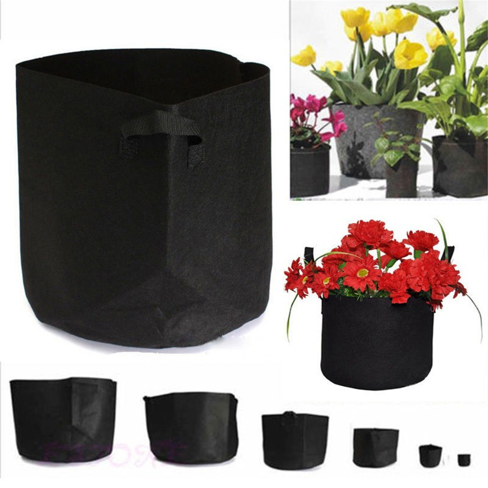 Hot 6 Sizes Black Thickening Fabric Pot Plant Pouch Root Container Grow Bag Tools Garden Pots Planters Supplies