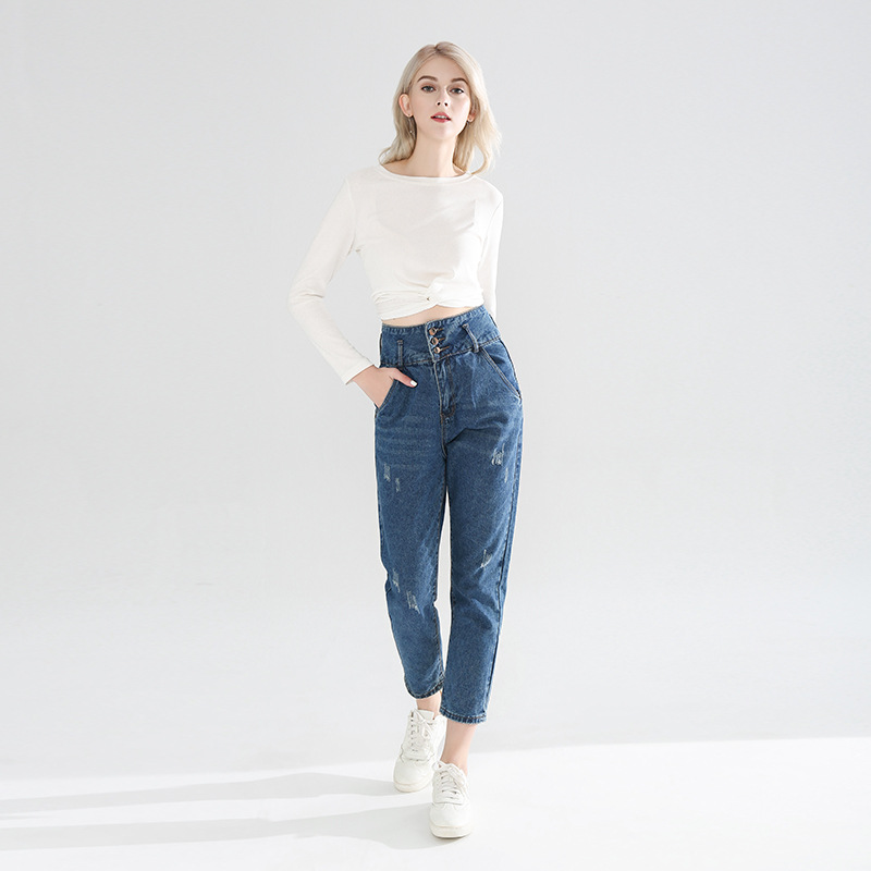 Spring 2019 Button High Waist Fringed Jeans Women