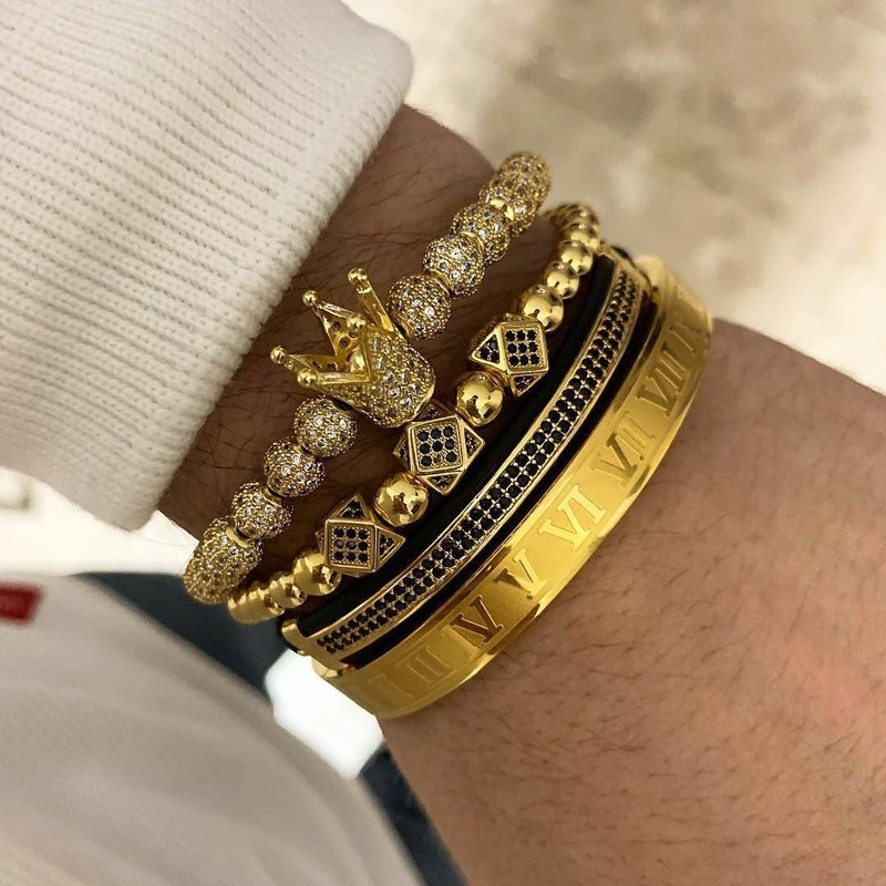 Charm Bracelet Jewelry Braided Gift Royal-Crown Adjustable Gold Men Fashion Luxury  title=