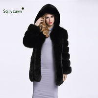 Women Winter Thick Warm Jacket Coat Long Sleeve Collar Luxury Faux Fox Fur Coat Jacket Faux Fur Warm Coat Outwear with Hooded
