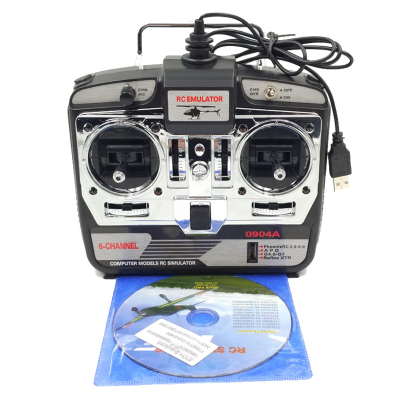 DTXMX 6CH RC Flight Simulator JTL-0904A Support Real RF7 G7 Phoenix 5.0 XTR Remote Control Helicopter Fixed-wing Drone (MODE2)