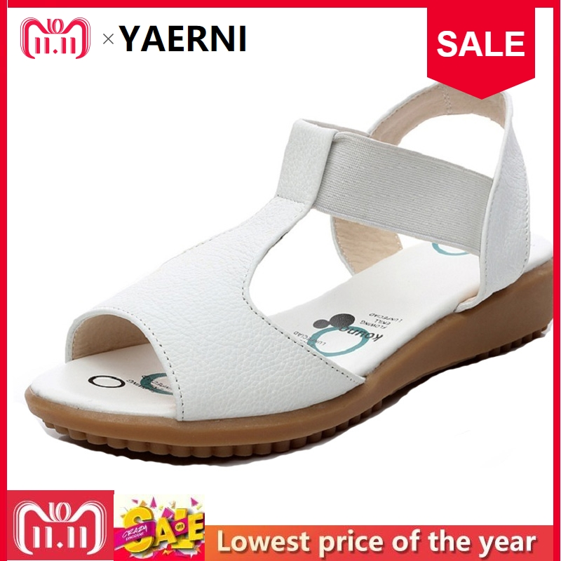 YAERNI Flat Breif Women Sandals Genuine Leather Open Toe Summer Shoes Women's Nurse Shoes Plus Size Sandals 34-43 White Black цена 2017