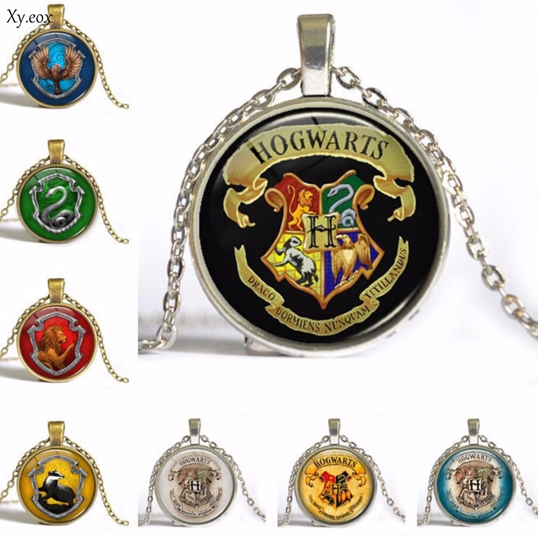 New <font><b>Hogwarts</b></font> Slytherin Cabochon Glass Chain Pendant <font><b>Necklace</b></font> Gift image