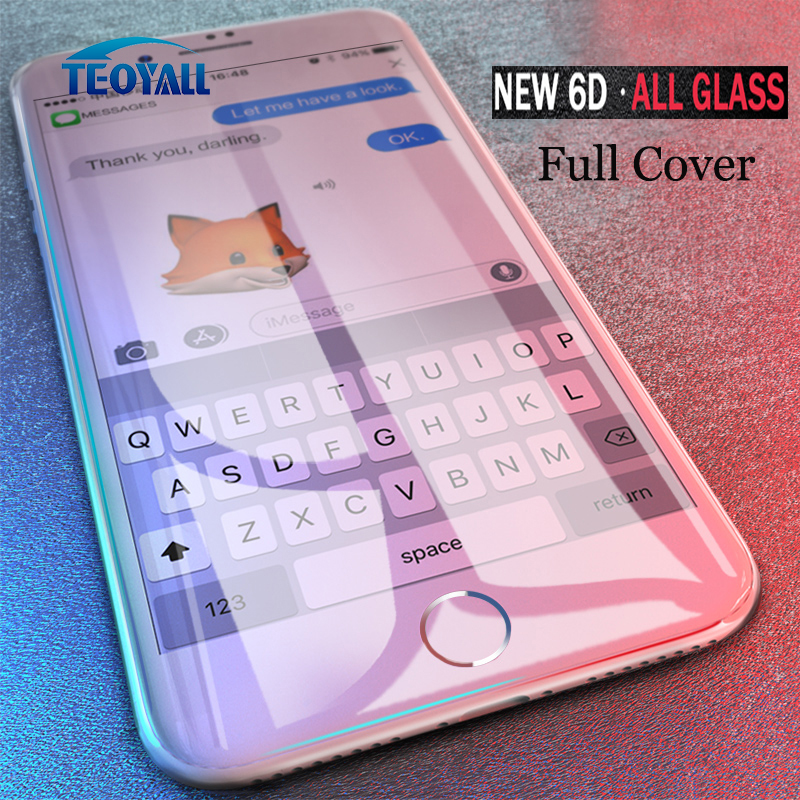 c454a1baed5 Teoyall cubierta completa 6D Borde cristal templado iPhone x 7 8 6 6s Plus protector  pantalla iPhone 6 6S 7 10 más protección de la película iphone x screen ...