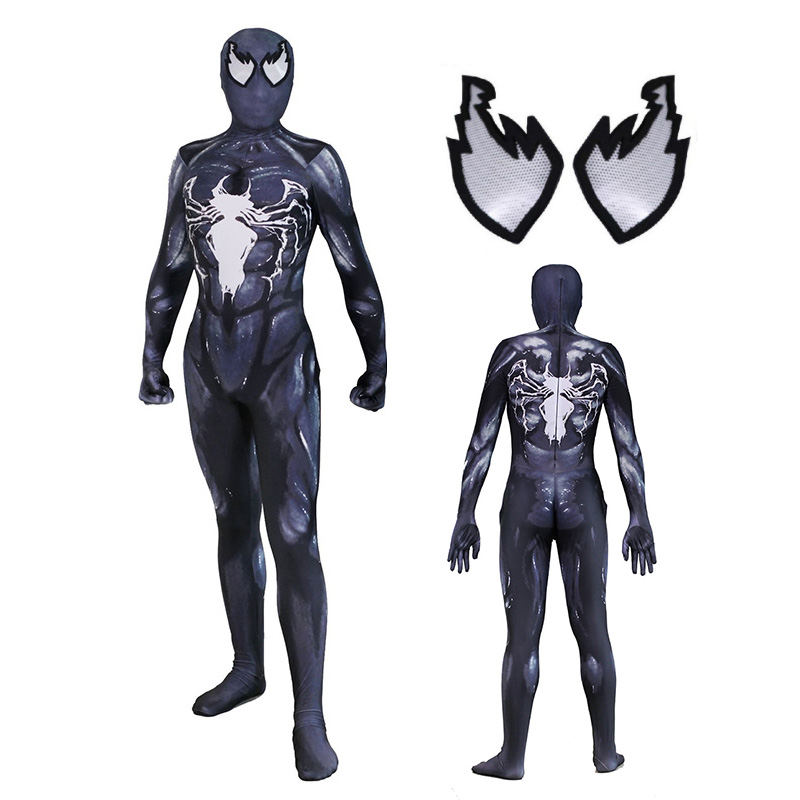 Venom Cosplay Costume Spiderman Zentai Skin Tight Suits Spandex Jumpsuit Lycra Full Body Bodysuit Halloween Carnival Uniforms
