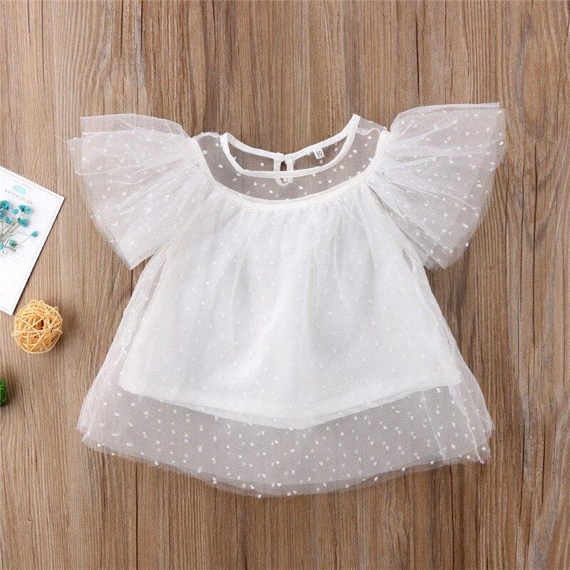 Original 2019 Neu Prinzessin Spitze T Shirt Nette Mode Schneeflocke Gaze Breite Hülse Hemd Flora Sleeveless Baby Mädchen Sommer Kleidung Tops