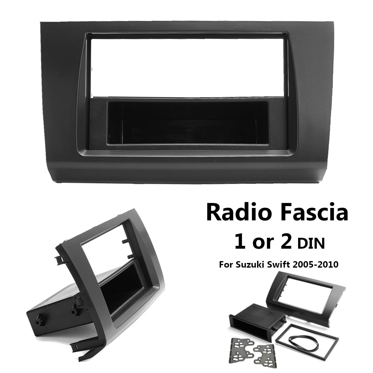 1 or 2 Din Car Stereo Radio Fascia Panel Plate Frame DVD CD Panel Audio GPS Dash Mount Kit Adapter for Suzuki Swift 2005 - 2010 image