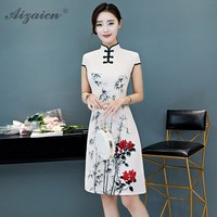 Summer New Cheongsam China Fashion A Version Qi Pao Women Traditional Chinese Clothing Similar Silk Dress Oriental Style Gown