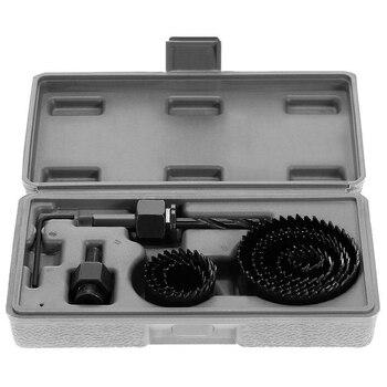 цена на 11pcs Drill Bit Woodworking Hole Saw Cutting Set Kit Drilling Tool Wood Metal Cutter 19-64mm high quality Mandrel Saw Core
