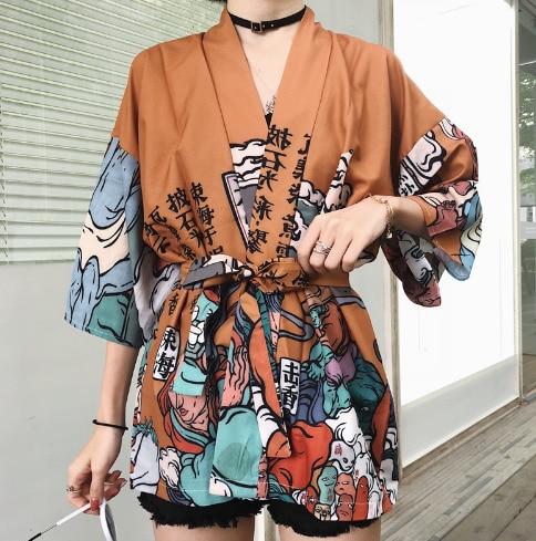 Kimono Blouse Japanese Traditional Kimono Women Yukata Summer Beach Shirt Cosplay Cardigan  Japanese Clothes Q011