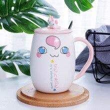 Cartoon Unicorn Mug with Lid and Spoon