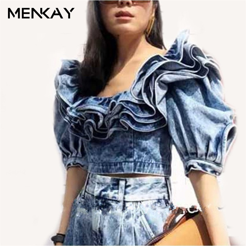 [MENKAY] Sexy été Denim Crop Tank hauts pour les femmes vêtements Streetwear à manches courtes élégant volants col dames mode coréenne
