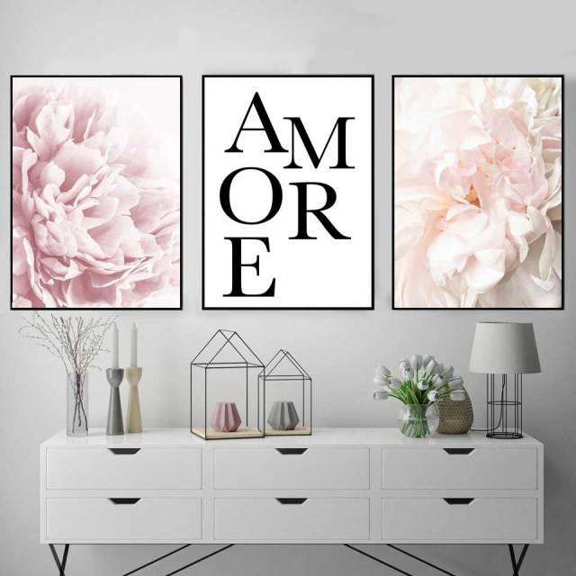 Pink Peony Floral Posters Prints French Love Adore Canvas Painting Nordic Flowers wall Picture For Living Room Framed Decoration