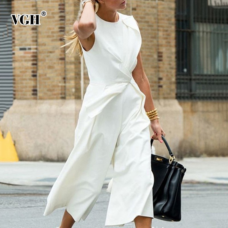 VGH Irregular Women Romper   Jumpsuits   Sleeveless O Neck Bodysuits Calf-length Pants 2019 Fashion Korean New Tide