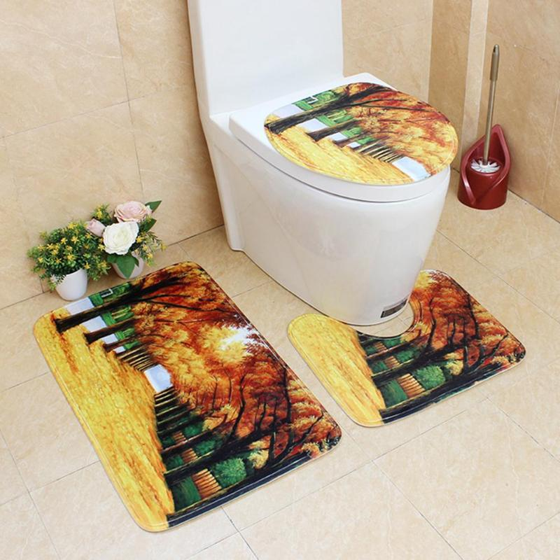 Admirable Us 9 36 32 Off 3Pcs Toilet Pad Seat Cover Cap Toilet Seat Cover And Rug Nature View Bathroom Mat Set Anti Slip U Shape Floor Rug Toilet Cover In Bralicious Painted Fabric Chair Ideas Braliciousco