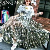 QING MO 2019 Summer Women Lace Dress Eagle Printing Letter Paillette Camouflage Split Yarn O neck Loose Long Women Dress QF371