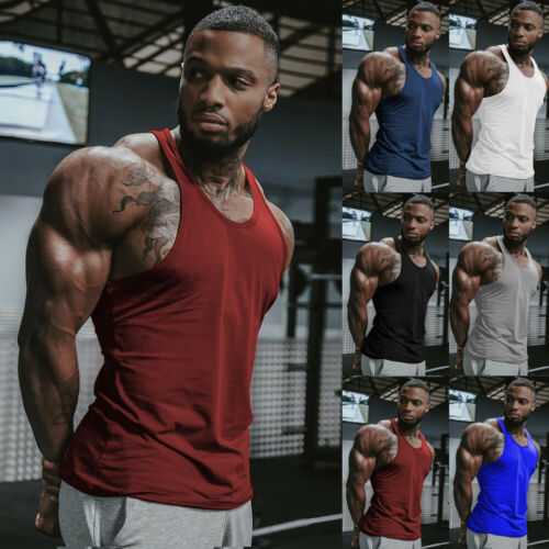 New Men's Gym Muscle Sleeveless Shirt Tank Top Bodybuilding Sport Fitness Vest Tops