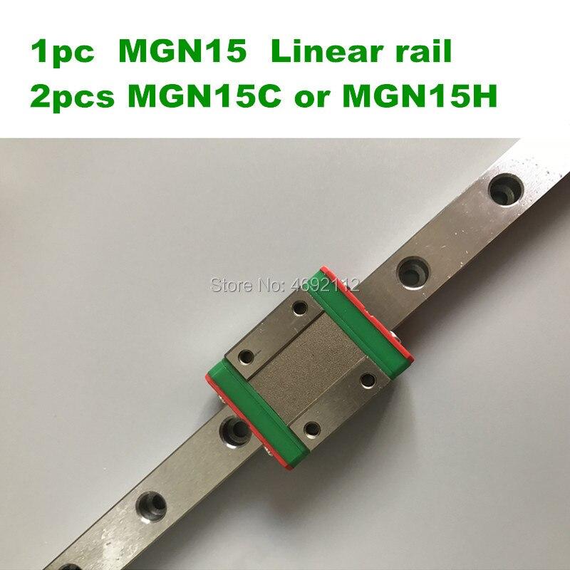 1pc 15mm Guide linéaire MGN15 1000 1200 mm rail linéaire + 2 pièces MGN15C ou MGN15H chariot pour pièces de CNC
