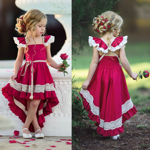 Toddler Girls Lace Dress Spanish Princess Birthday Party Pageant Skater Dresses