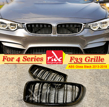 1 Pair F33 Front Grille ABS Gloss Black For M-Style Grills 420i 428i 435 440i 2-Slats Bumper Kidney 2013+