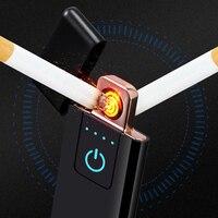 Mechero doble eléctrico USB recargable sin llama bobina Tesla|Accesorios de cigarrillos| |  -