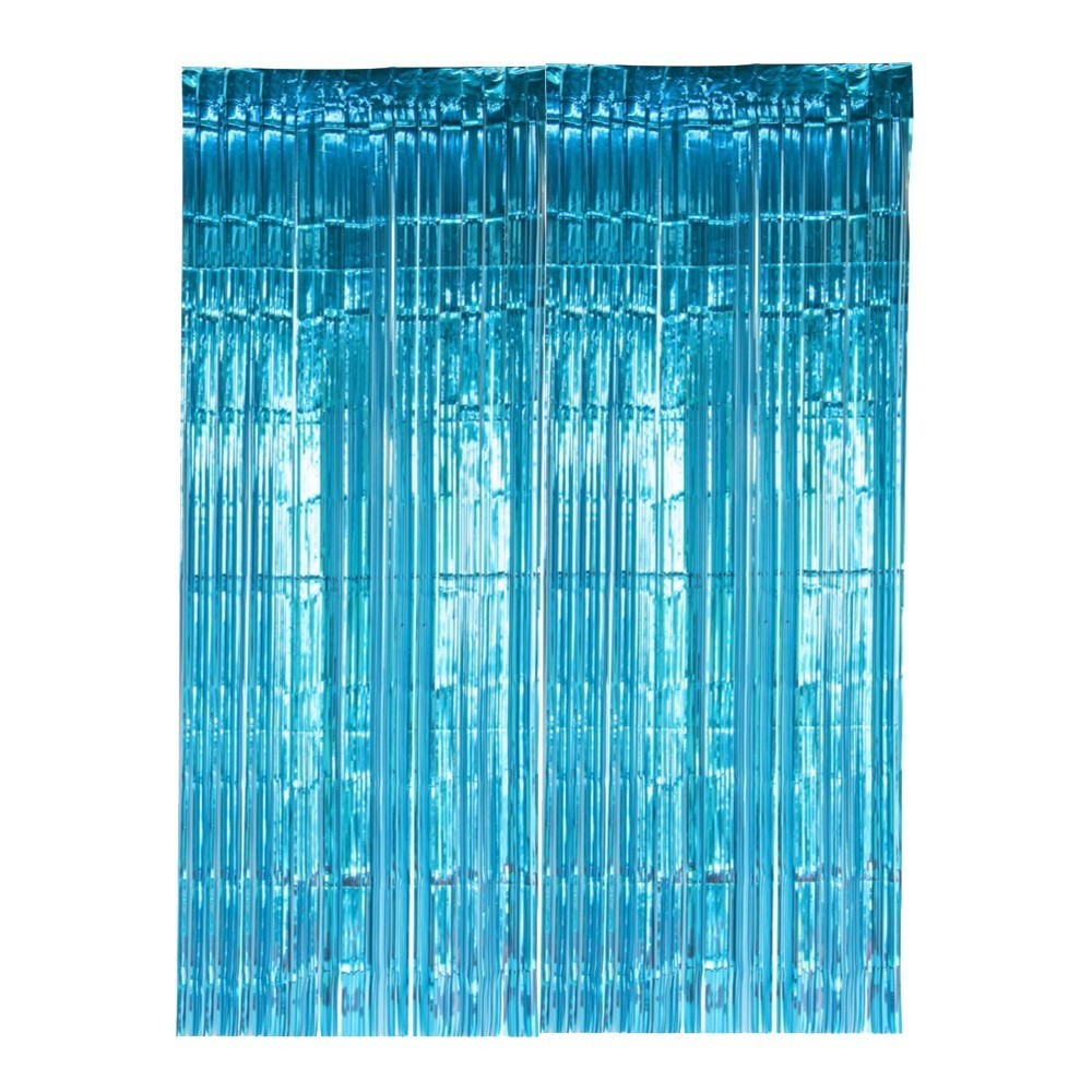 SUNBEAUTY Kids Birthday Party Photo Backdrop Bridal Shower Wedding Decoration Turquoise Metallic Foil Fringe Tinsel Curtains in Party DIY Decorations from Home Garden