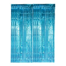 SUNBEAUTY Kids Birthday Party Photo Backdrop Bridal Shower Wedding Decoration Turquoise Metallic Foil Fringe Tinsel Curtains