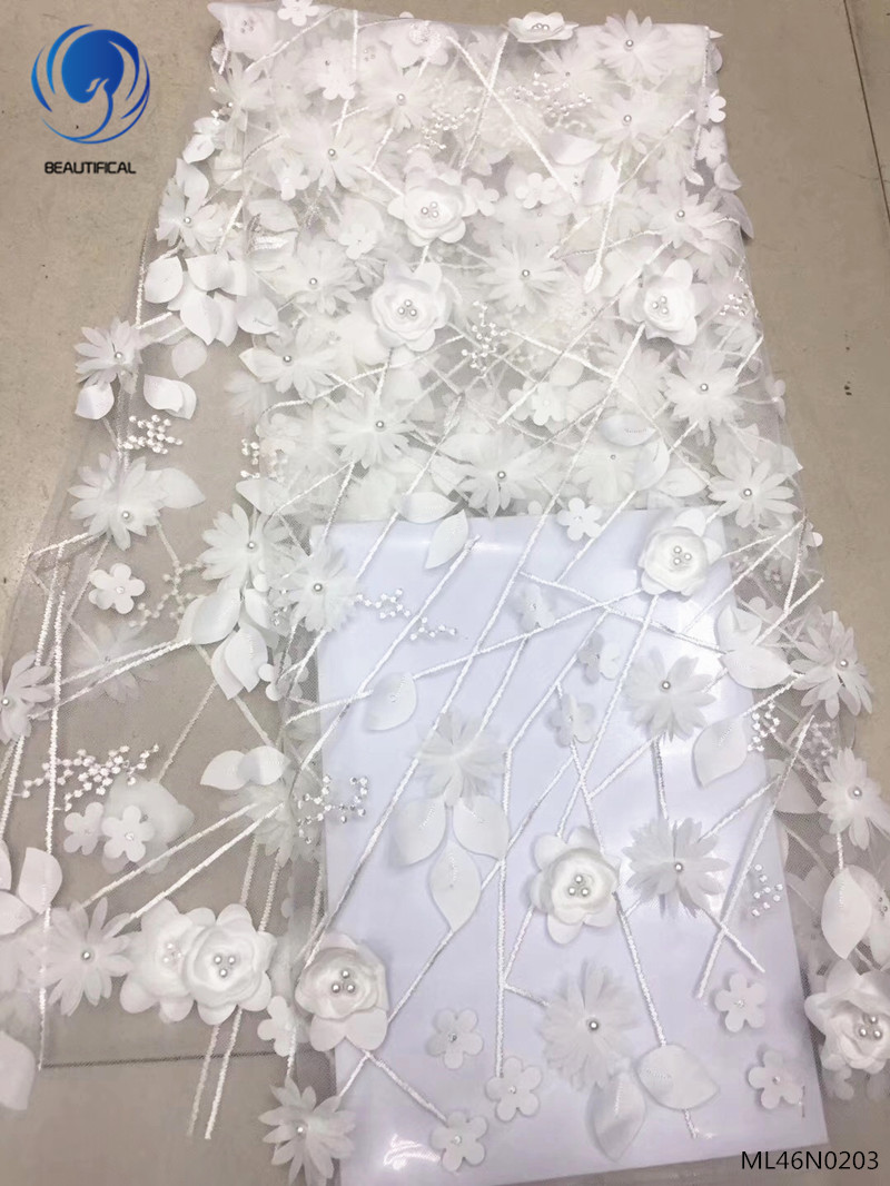 BEAUTIFICAL 3D lace fabrics 2019 high quality appliqued laces with beads fabrics lace for wedding dress 5yards/lot ML46N02BEAUTIFICAL 3D lace fabrics 2019 high quality appliqued laces with beads fabrics lace for wedding dress 5yards/lot ML46N02