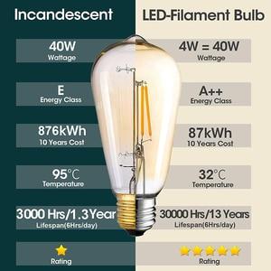 Image 4 - Светодиодная лампа Эдисона E27, 4 Вт, 2700 к, 6 шт./упаковка