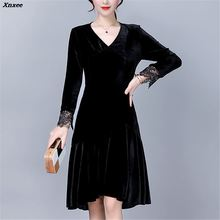 New Long Sleeve Velvet A Line Dress Womens Autumn Dresses Vestidos Spring Sexy V-neck Elegant Lace Patchwork Party Dresses Xnxee spring and autumn velvet solid sexy v neck split party woman dresses european style empire long sleeve velvet mini dresses 90s