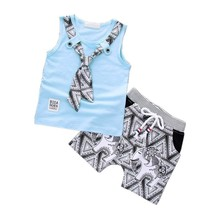 Fashion Children Boys Girls Clothing Set Baby Tie T-Shirt Cartoon Short 2Pcs/Sets Kids Cotton Clothes Summer Toddler Tracksuits girls summer clothing sets girl set cotton brand cartoon embroidered t shirt short pant toddler girl clothing for kids clothes